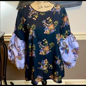 Loft Women's Floral Boho Chic Puffy Sleeves Top  *